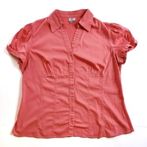 Worthington Coral Short Sleeve Button up Blouse 1X